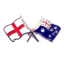 Austrslia Flag England Flag And Australia Flag Crossed Lapel Badge
