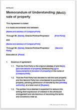 sale of property memorandum of understanding