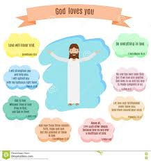 Gospel Quotes About Love by God Loves You Vector Illustration Smiling Jesus And Bible Quotes