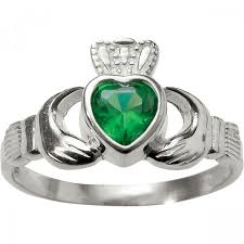 claddagh rings sterling silver with green claddagh ring leaflet missal