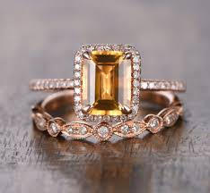 citrine engagement rings 689 emerald cut citrine engagement ring sets pave diamond wedding