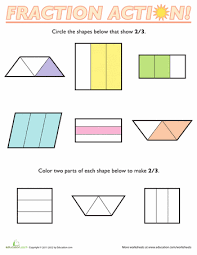 fractions of shapes 2 3 worksheets math and