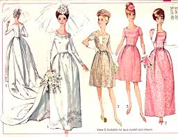 vintage wedding dress patterns 60s bridal gown wedding bridesmaid dress pattern simplicity 6353