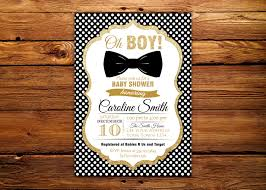 black and gold baby shower invitation bow tie baby shower