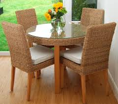 Woven Dining Room Chairs Decorating Seagrass Dining Chairs With Round Glass Surface Dining