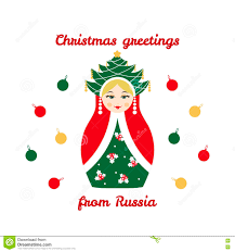 christmas greetings from russia card with russian traditional