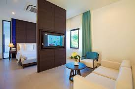 bed and living garden view villas