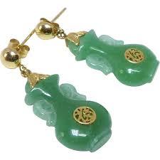 Jade Vases Vintage Chinese Natural Green Jade Vases 14k Gold Drop Earrings