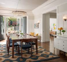 gorgeous rug in dining room transitional with kitchen