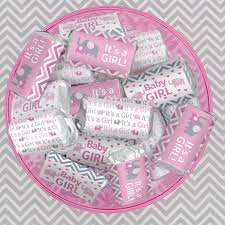 candy bar for baby shower pink and gray elephant baby shower mini candy bar wrappers 54 set