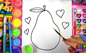 how to draw color and paint fruit pear apple fruits for kids