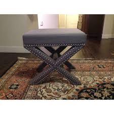 grey x bench with nailhead trim gray ottoman stool chairish
