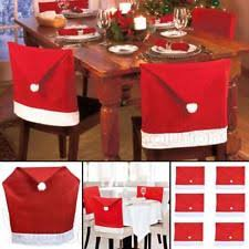 christmas chair back covers santa hat felt christmas table decorations and settings ebay
