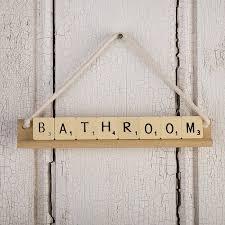 vintage bathroom accessories scrabble bathroom sign homegirl london