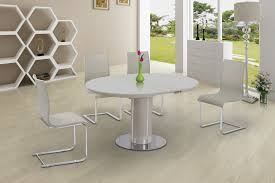 Round Cream Glass High Gloss Dining Table   Chairs Homegenies - Cream kitchen table