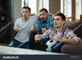 Couch Potato Tv Group Friends Watching Football Match On Stock Photo 609905303