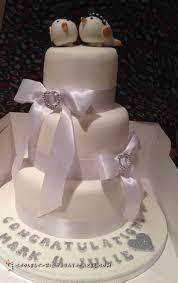 all white cute wedding cake
