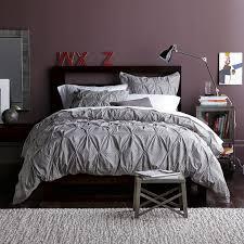 Organic Duvet Cover King Bedroom Organic Cotton Pintuck Euro Shams Light Amethyst West Elm