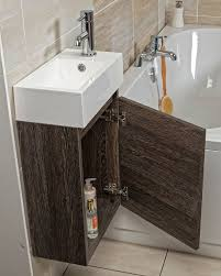 compact wall hung cloakroom vanity unit in dark oak inc basin