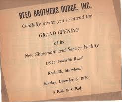 Showroom Invitation Card Grand Opening Reed Brothers Dodge History 1915 U2013 2012