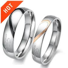 couples rings heart images Personalized matching heart real love titanium couple rings jpg