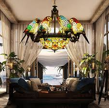 Chandelier Dubai Makernier Vintage Tiffany Style Stained Glass 8 Arms Parrots