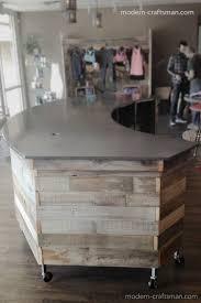 Wood Reception Desk Wood Plank Reception Desk Craftsman Style And Concrete For Yoga