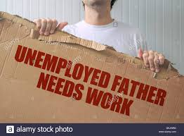 Seeking Title Unemployed Needs Work Holding Banner With Seeking