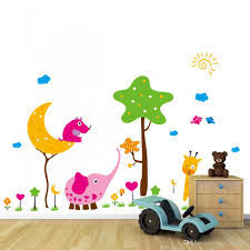 cartoon animals tree cloud birds grass land wall stickers for kids see larger image