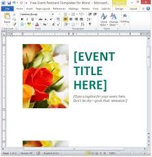 free event postcard template for word
