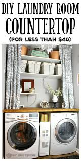 this is uncanny to my set up i think i want to set the curtains adding a diy laundry room countertop is an inexpensive way to change up the look of