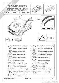 dacia duster 2010 1 g wind deflectors fitting guide workshop manual