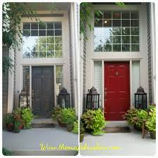 painted front door in a bold red color magic brush