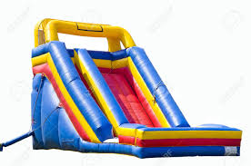 bounce house for kids with slide isolated on white stock photo