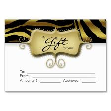 gift card business salon gift card spa zebra animal gold black black business card