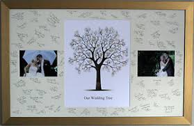 wedding signing board framed guest signing board with fingerprint tree photos