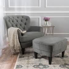 Chairs With Ottomans For Living Room Teton Grey Fabric Club Chair And Ottoman Ottomans Room And