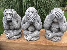 garden set of 3 wise monkeys see hear speak no evil