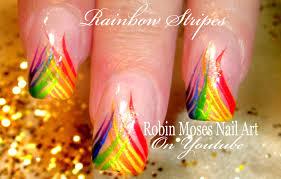 easy rainbow stripe nail art design tutorial youtube