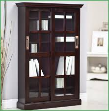Wooden Bookcase With Doors Homelegance Barrister Wood Bookcase With Sliding Glass Door