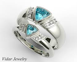 aquamarine wedding rings trillion aquamarine matching wedding bands for his and vidar