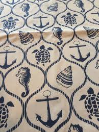 reversible seaside nautical print upholstery fabric remnant home