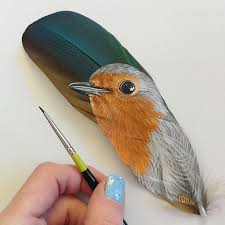 turkey feather painting miniature pet paintings on turkey feathers