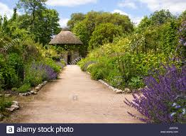 the 19th century thatched round house surrounded by beautiful