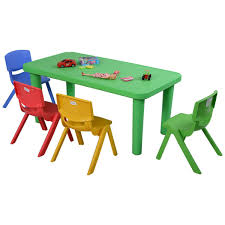 Garden Table And Chairs Ebay Amazon Com Costzon New Kids Plastic Table And 4 Chairs Set