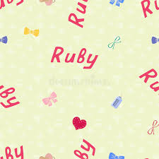 seamless background pattern name ruby of the newborn name baby ruby