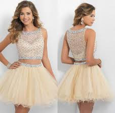 fashion 2016 champagne short homecoming dresses two piece prom