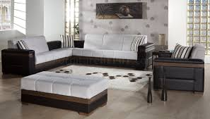 fabric u0026 dark leatherette convertible sectional sofa bed