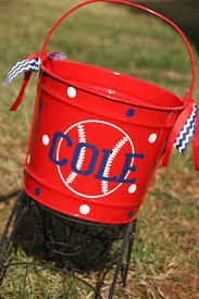 personalized easter buckets items similar to personalized baseball softball easter basket