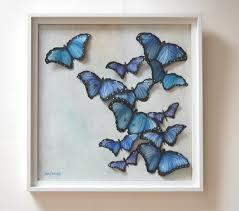 3d butterflies painting 3d wall blue abstract